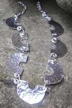 Hammered Nine Section Necklace with Spiral Wire Links