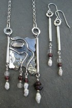 One-off Hammered Silver Pendant with inset Moonstone and Matching Earrings