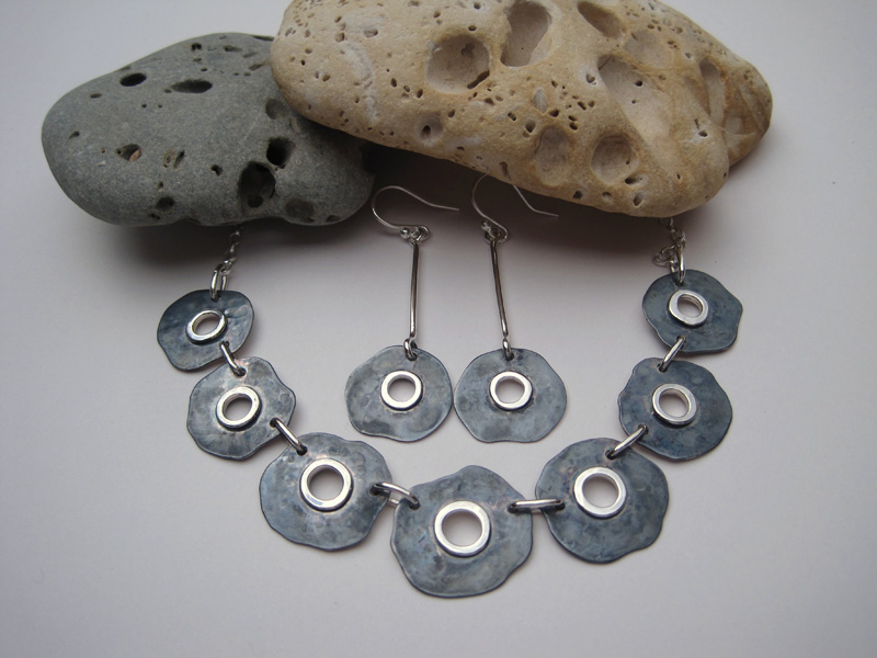 Seven Section Oxidised Silver Necklace and Earrings
