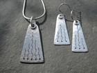 Matte Silver Pendant and Earrings with Saw Pierced Detail