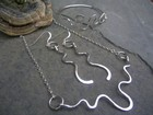 Hammered Silver Wire Necklace, Earrings and Bangle