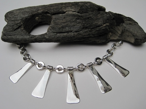 Hammered Silver Five-Drop Necklace