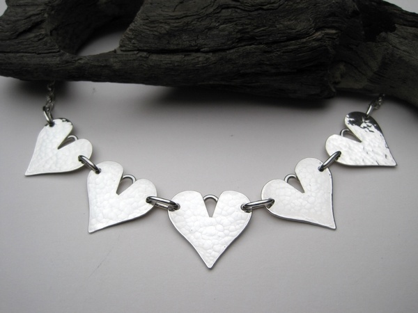 Hammered Silver Five-Heart Necklace