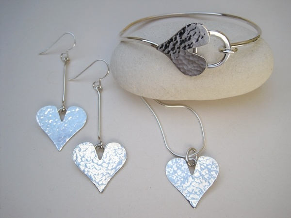Hammered Silver Heart Pendant, Earrings and Bracelet