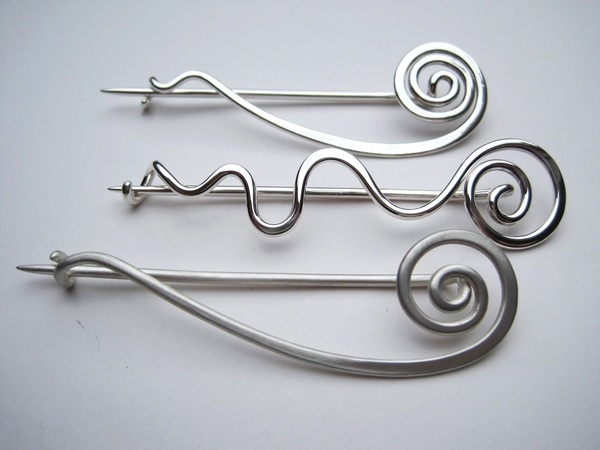 Hammered Silver Wire Brooches