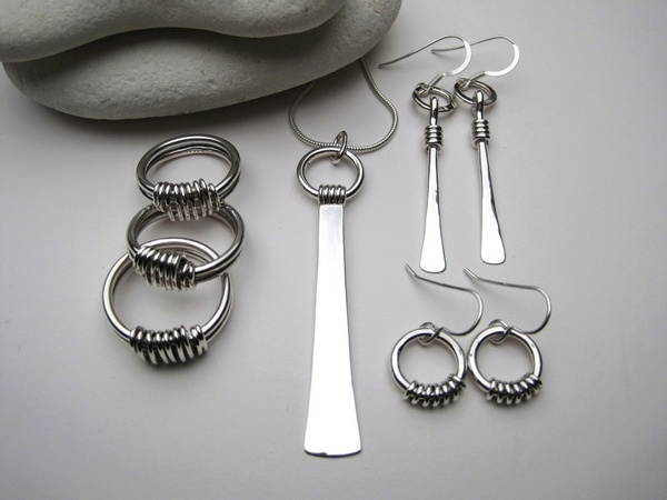 Silver Rings, Pendant and Earrings with Wire Detail